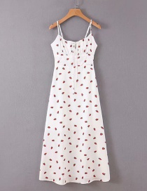 Fashion White Strawberry Print Sling Open Back Lace Dress