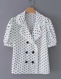 Fashion White Polka Dot Printed Lace Lapel Shirt