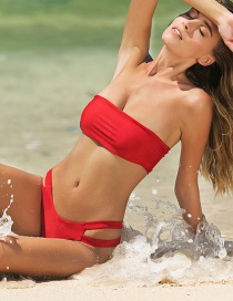 Fashion Red Bandeau Double-sided Bandage Split Swimsuit