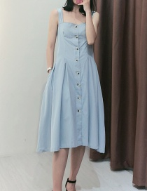 Fashion Light Blue Washed Sling Denim Skirt