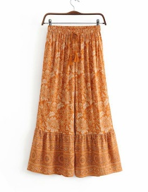Fashion Ginger Yellow Human Cotton Flower Print Fringed Tie Pants