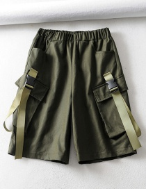 Fashion Green Five-point Tie Stitching Tooling Shorts
