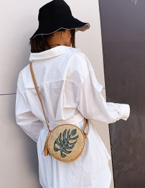 Fashion Yellow Leaves Straw Embroidered Shoulder Bag