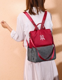 Fashion Red Oxford Cloth Contrast Embroidered Backpack