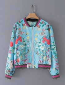 Fashion Blue Floral Printed Zipper Jacket