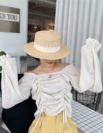 Fashion Color One-shoulder Pleated Shirt