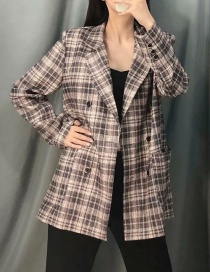Fashion Gray Plaid Printed Double-breasted Suit