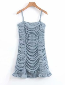 Fashion Gray Blue Dotted Printed Sling Pleated Dress