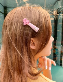 Fashion Pink Love Alloy Resin Hairpin
