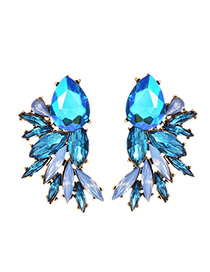 Fashion Blue Alloy Drop Diamond Stud Earrings