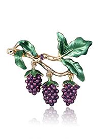 Fashion Kc Gold Alloy Dripping Grape Brooch