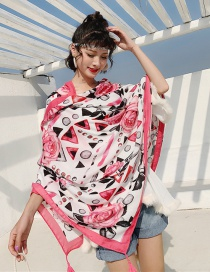 Fashion Pink Flower Geometry Cotton And Linen Printed Scarves
