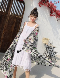 Fashion Diamond Geometry Cotton And Linen Printed Scarves