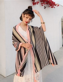 Fashion Wave Cotton And Linen Printed Scarves