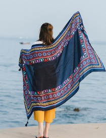 Fashion No. 31 Navy Cotton And Linen Printed Scarves