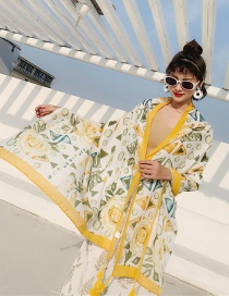 Fashion Dream Gold Flower Cotton And Linen Printed Scarves