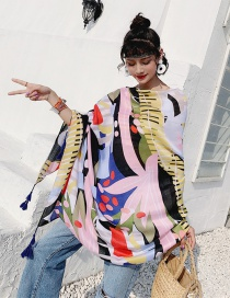 Fashion Graffiti Geometry Cotton And Linen Printed Scarves