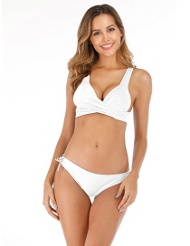 Fashion White Solid Color Bandage Split Swimsuit