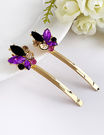 Fashion Purple Alloy Diamond Hairpin