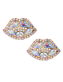 Fashion Ab Color Alloy Diamond Lip Studs