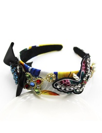 Fashion Color Butterfly Pearl With Diamond Cross Headband