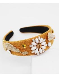 Fashion Yellow Diamond Large Flower Headband
