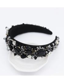 Fashion Black Full Diamond Gem Headband