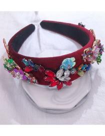 Fashion Red Wine Metal Flower Headband