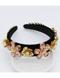 Fashion Pink Diamond Gemstone Flower Geometric Headband