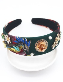 Fashion Green Metal Flower Bird Pearl Leaf Headband