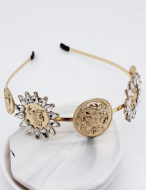Fashion Gold Beauty Head Geometry Diamond Jewel Headband