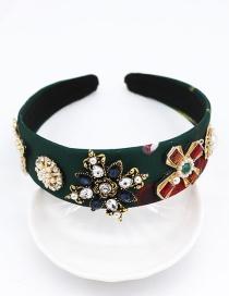 Fashion Dark Green Full Diamond Moon Cross Geometric Pearl Headband