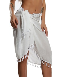 Fashion White Apron Fringed Sunscreen Shawl