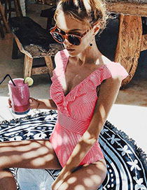 Fashion Red Strip Striped One-piece Swimsuit