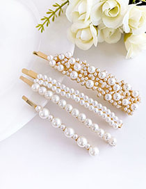 Fashion Gold Alloy Pearl Hair Clip Set