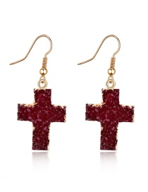 Fashion Red Wine Imitation Natural Stone Cross Resin Earrings
