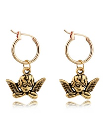 Fashion Gold Metal Opening Angel Earrings
