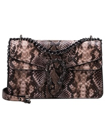 Fashion Khaki Pu Alloy Snake Shoulder Bag