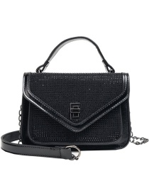 Fashion Black Pu Alloy Full Drill Shoulder Bag