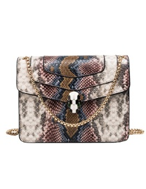 Fashion Apricot Powder Pu Alloy Snake Lock Buckle Shoulder Bag
