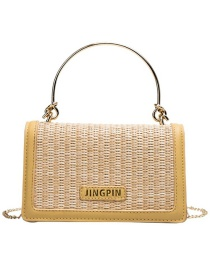 Fashion Yellow Pu Straw Square Bag Shoulder Bag