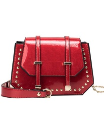 Fashion Red Pu Double Thong Pouch Shoulder Bag