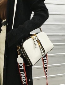 Fashion White Pu Zipper Shoulder Bag