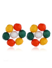 Fashion Color Flower-shaped Round Bead Earrings
