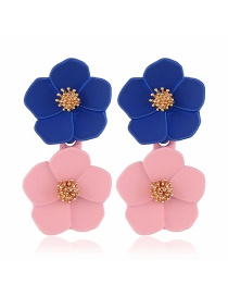 Fashion Blue + Powder Flower Earrings