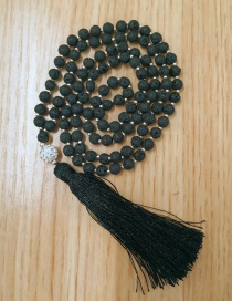 Fashion Black Volcanic Stone Beaded Metal Beaded Tassel Necklace