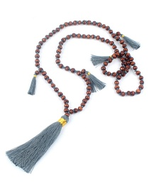 Fashion Gray Wooden Beads Beaded Tassel Necklace 6mm