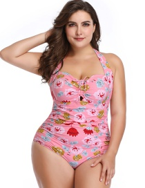 Fashion Pink Print One-piece Swimsuit