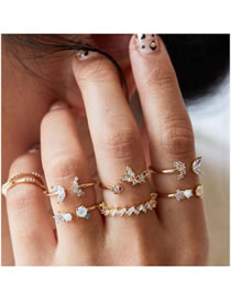 Fashion Gold Open Set Of Diamond Butterfly Flower Ring Set Of 7