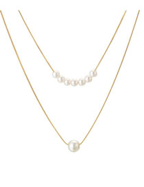 Fashion Silver Knotted Chain Size Pearl Double Layer Alloy Necklace